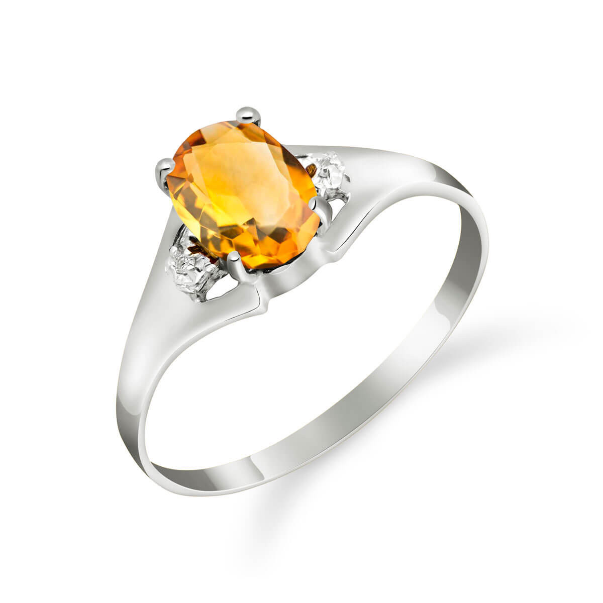 Citrine & Diamond Desire Ring in 9ct White Gold