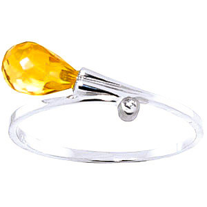 Citrine & Diamond Droplet Ring in 9ct White Gold