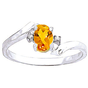 Citrine & Diamond Embrace Ring in 9ct White Gold