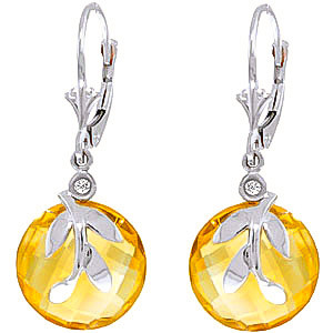 Citrine & Diamond Olive Leaf Drop Earrings in 9ct White Gold