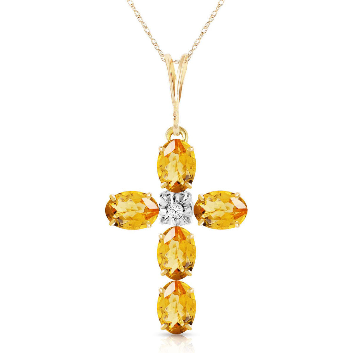 Citrine & Diamond Rio Cross Pendant Necklace in 9ct Gold