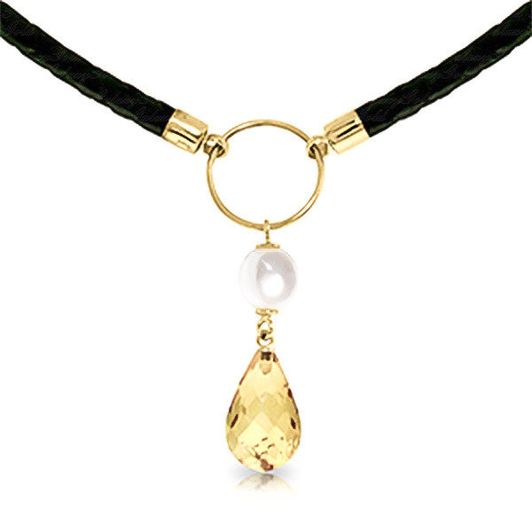 Citrine & Pearl Leather Pendant Necklace in 9ct Gold