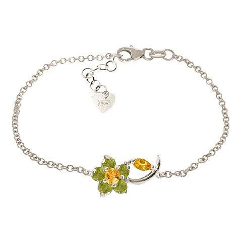 Citrine & Peridot Adjustable Flower Petal Bracelet in 9ct White Gold