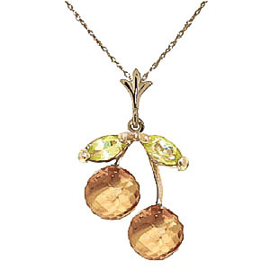 Citrine & Peridot Cherry Drop Pendant Necklace in 9ct Gold