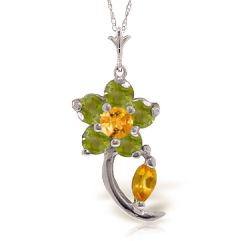 Citrine & Peridot Flower Petal Pendant Necklace in 9ct White Gold