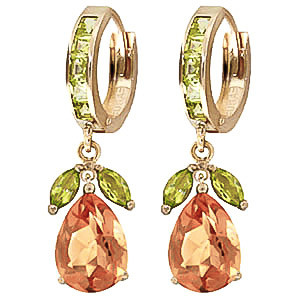 Citrine & Peridot Huggie Drop Earrings in 9ct Gold