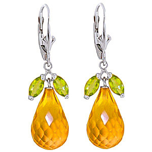 Citrine & Peridot Snowdrop Earrings in 9ct White Gold