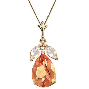 Citrine & White Topaz Pear Drop Pendant Necklace in 9ct Gold