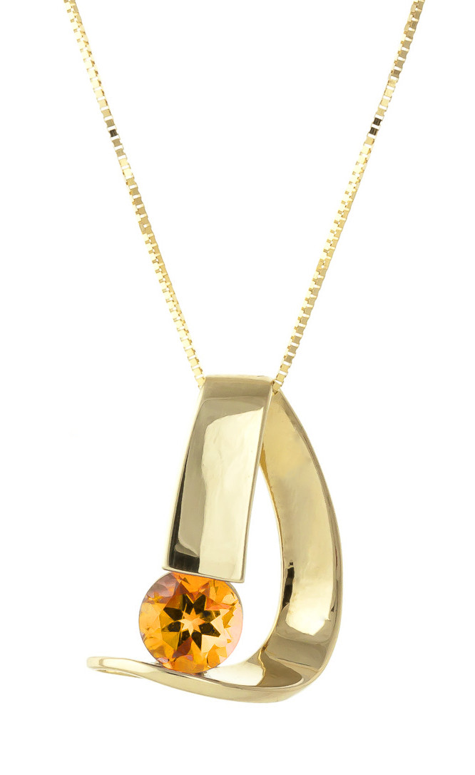 Citrine Arc Pendant Necklace 1 ct in 9ct Gold