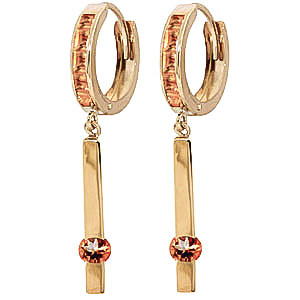 Citrine Bar Drop Earrings 1.35 ctw in 9ct Gold