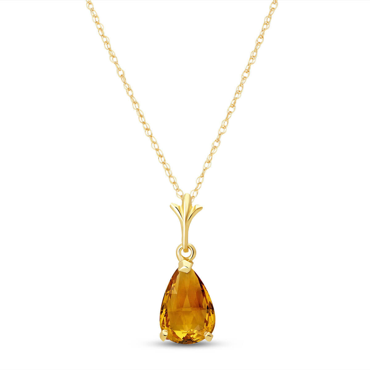 Citrine Belle Pendant Necklace 1.5 ct in 9ct Gold