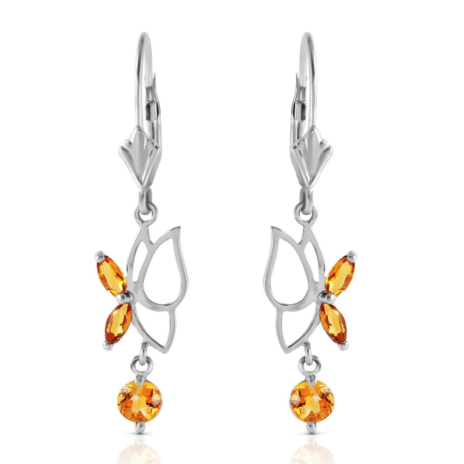 Citrine Butterfly Drop Earrings 0.35 ctw in 9ct White Gold