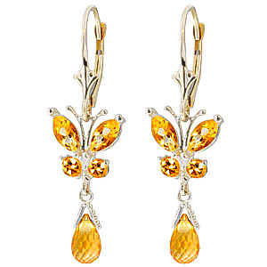 Citrine Butterfly Drop Earrings 2.74 ctw in 9ct White Gold