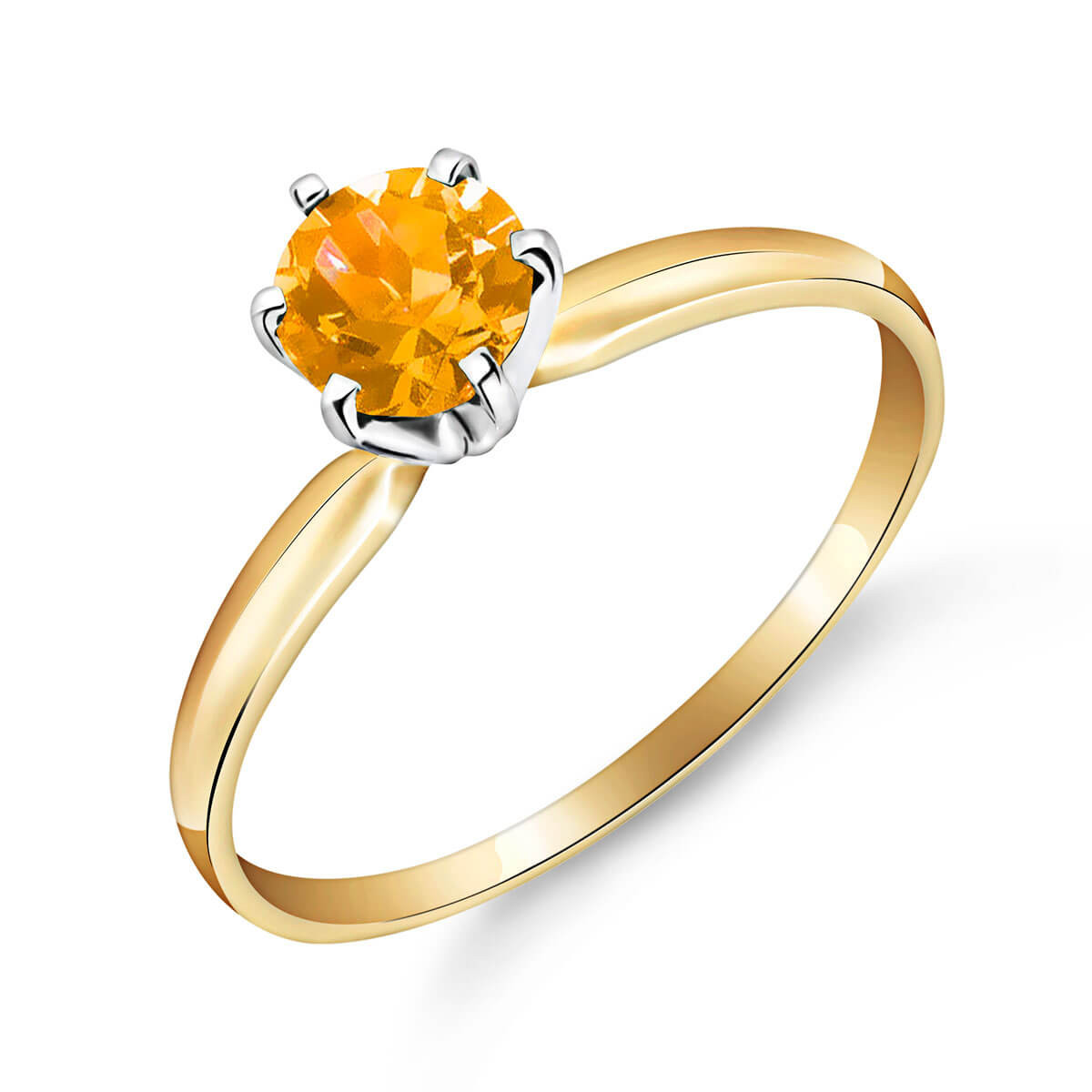 Citrine Crown Solitaire Ring 0.65 ct in 9ct Gold