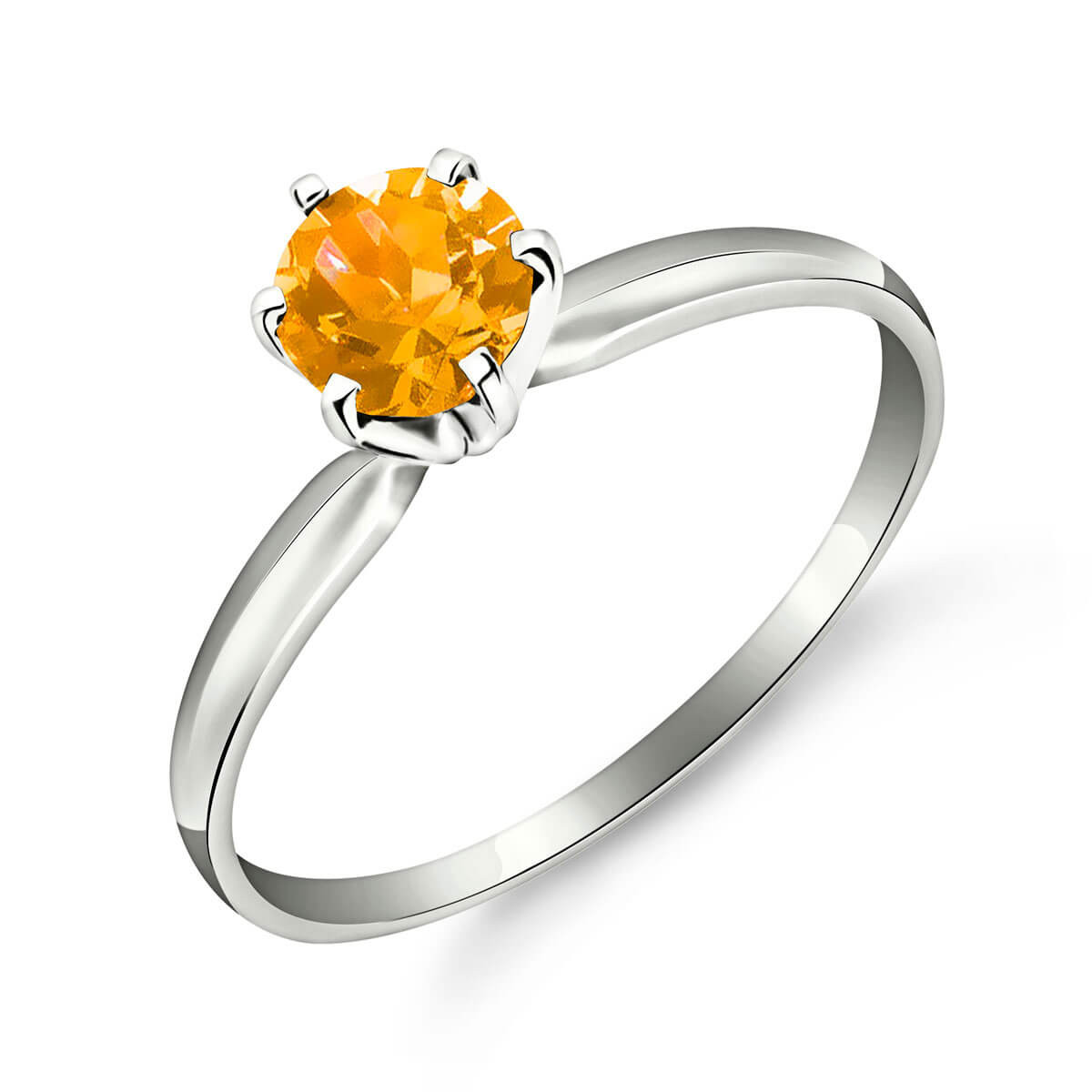Citrine Crown Solitaire Ring 0.65 ct in 9ct White Gold