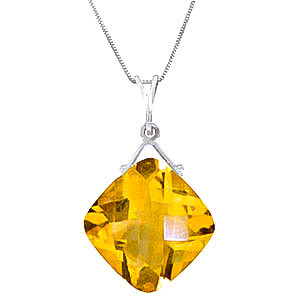 Citrine Cushion Pendant Necklace 8.75 ct in 9ct White Gold