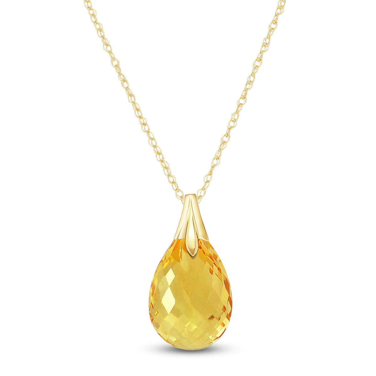 Citrine Dewdrop Pendant Necklace 3 ct in 9ct Gold