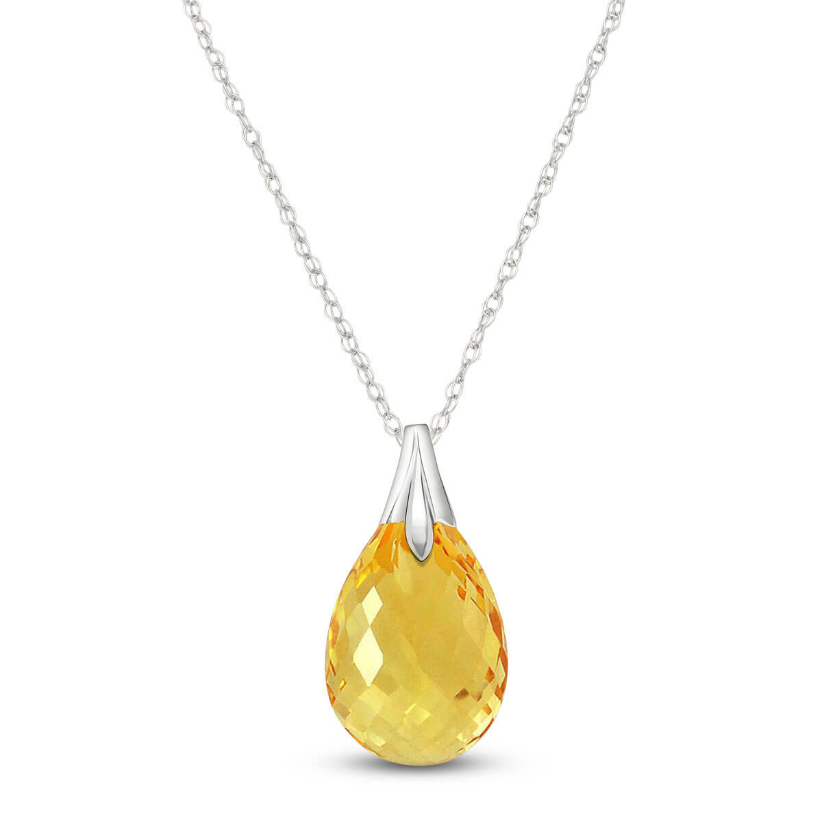 Citrine Dewdrop Pendant Necklace 3 ct in 9ct White Gold