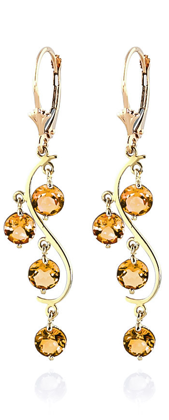 Citrine Dream Catcher Drop Earrings 4.95 ctw in 9ct Gold