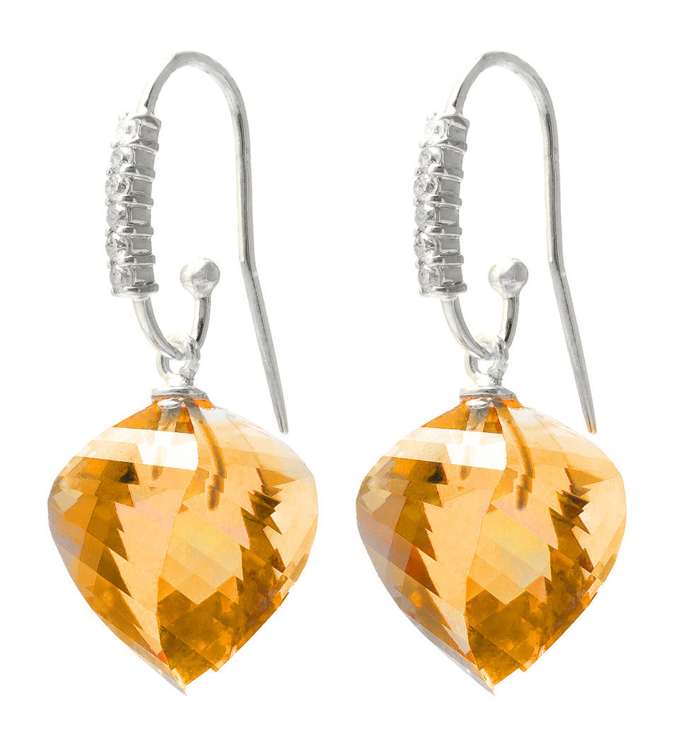Citrine Drop Earrings 23.68 ctw in 9ct White Gold