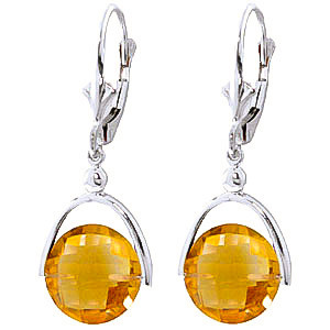 Citrine Drop Earrings 6.5 ctw in 9ct White Gold