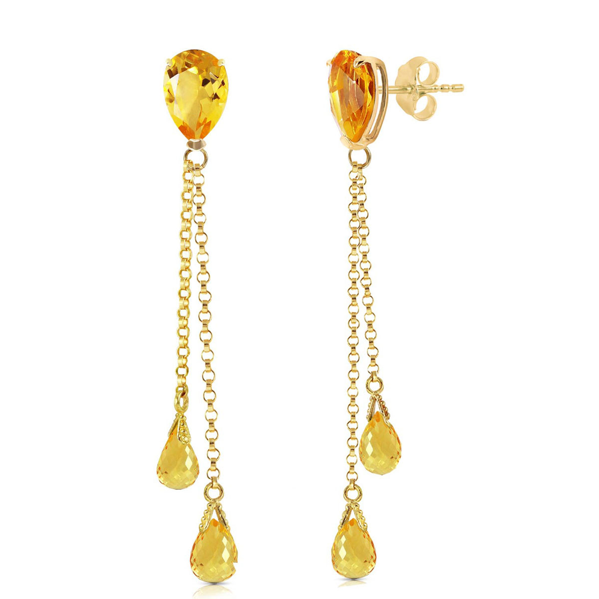 Citrine Droplet Earrings 7.5 ctw in 9ct Gold