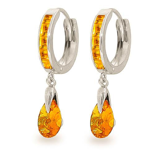 Citrine Droplet Huggie Earrings 3.3 ctw in 9ct White Gold