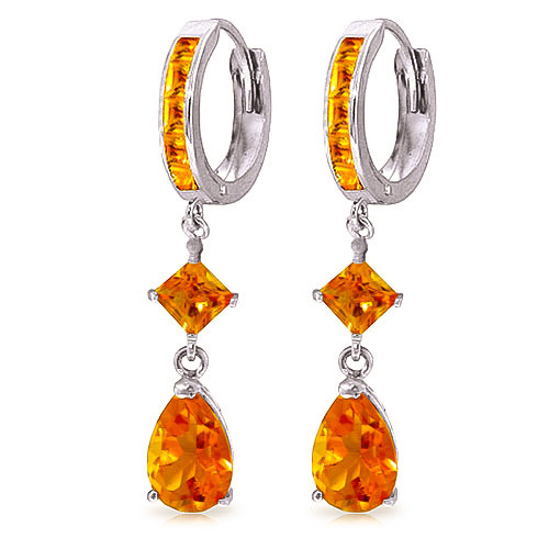 Citrine Droplet Huggie Earrings 5.62 ctw in 9ct White Gold