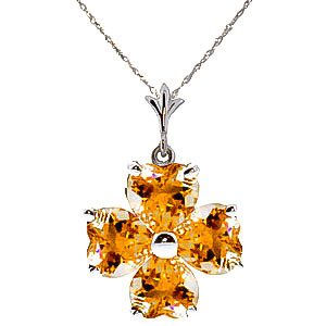 Citrine Four Leaf Clover Pendant Necklace 3.8 ctw in 9ct White Gold
