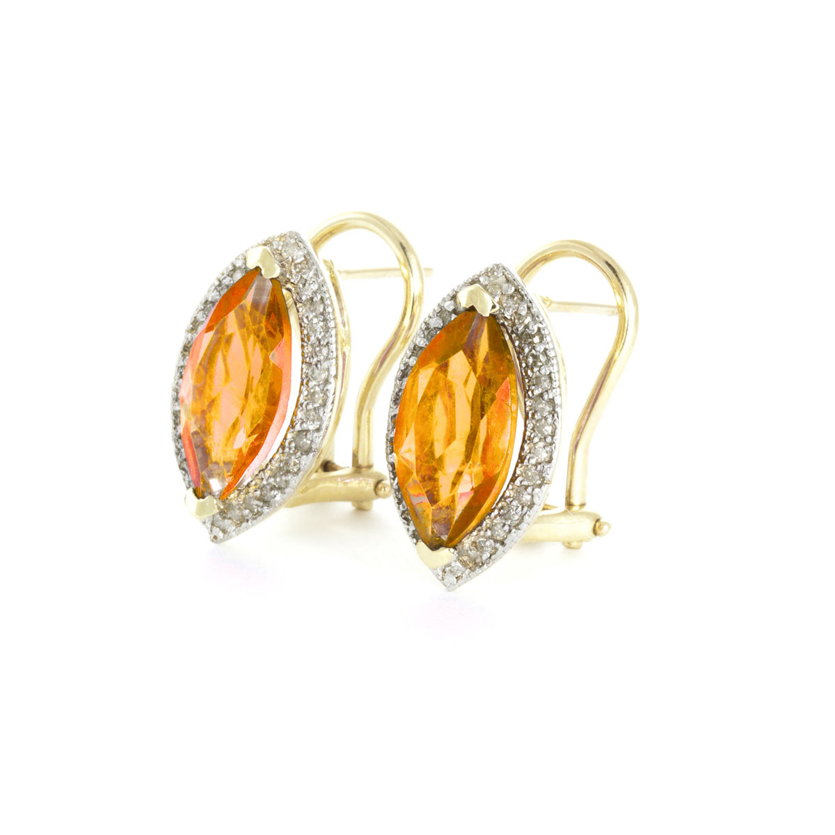 Citrine French Clip Halo Earrings 3.6 ctw in 9ct Gold
