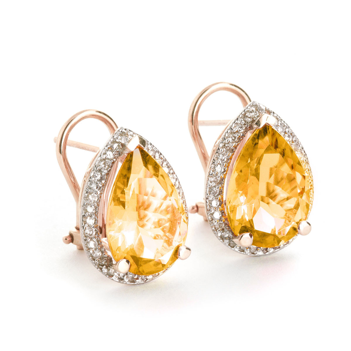 Citrine French Clip Halo Earrings 7.32 ctw in 9ct Rose Gold