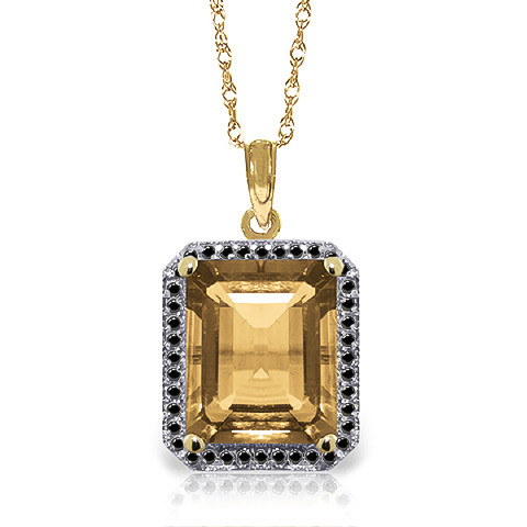 Citrine Halo Pendant Necklace 5.4 ctw in 9ct Gold