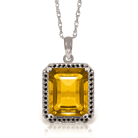 Citrine Halo Pendant Necklace 5.4 ctw in 9ct White Gold