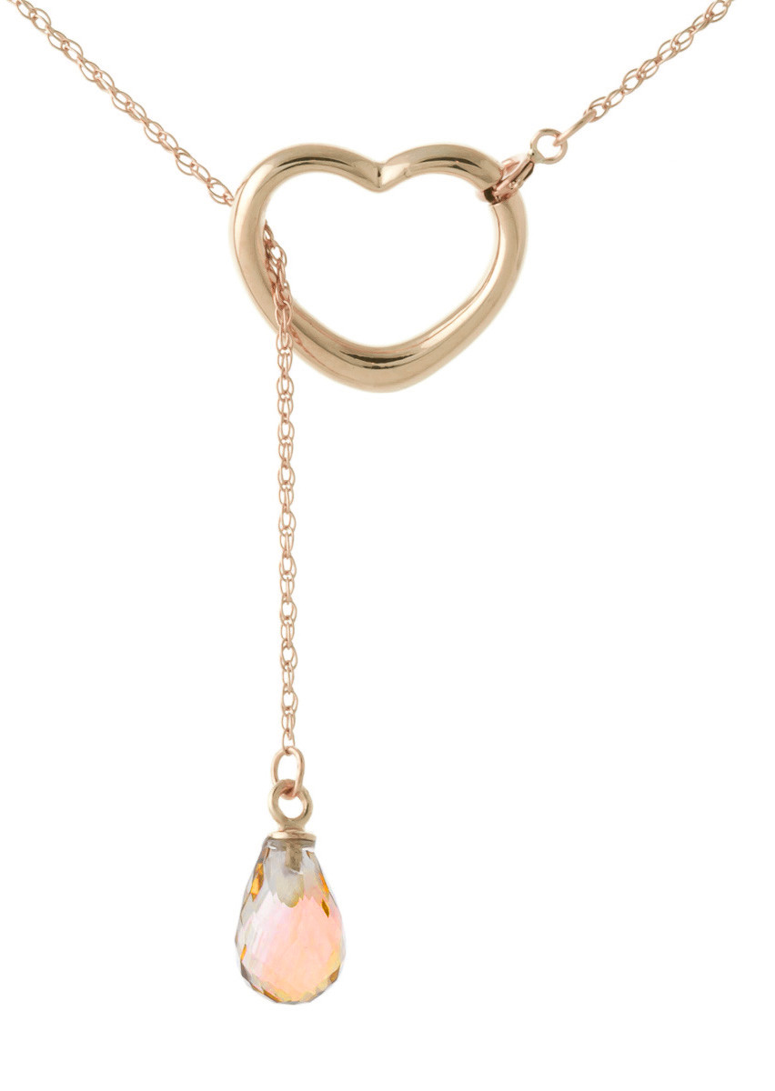 Citrine Heart Drop Pendant Necklace 2.25 ct in 9ct Rose Gold