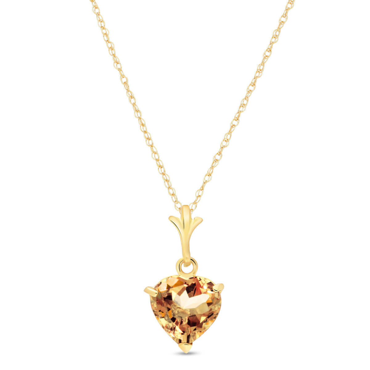 Citrine Heart Pendant Necklace 1.15 ct in 9ct Gold