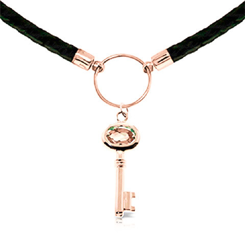 Citrine Key Charm Leather Pendant Necklace 0.5 ct in 9ct Rose Gold