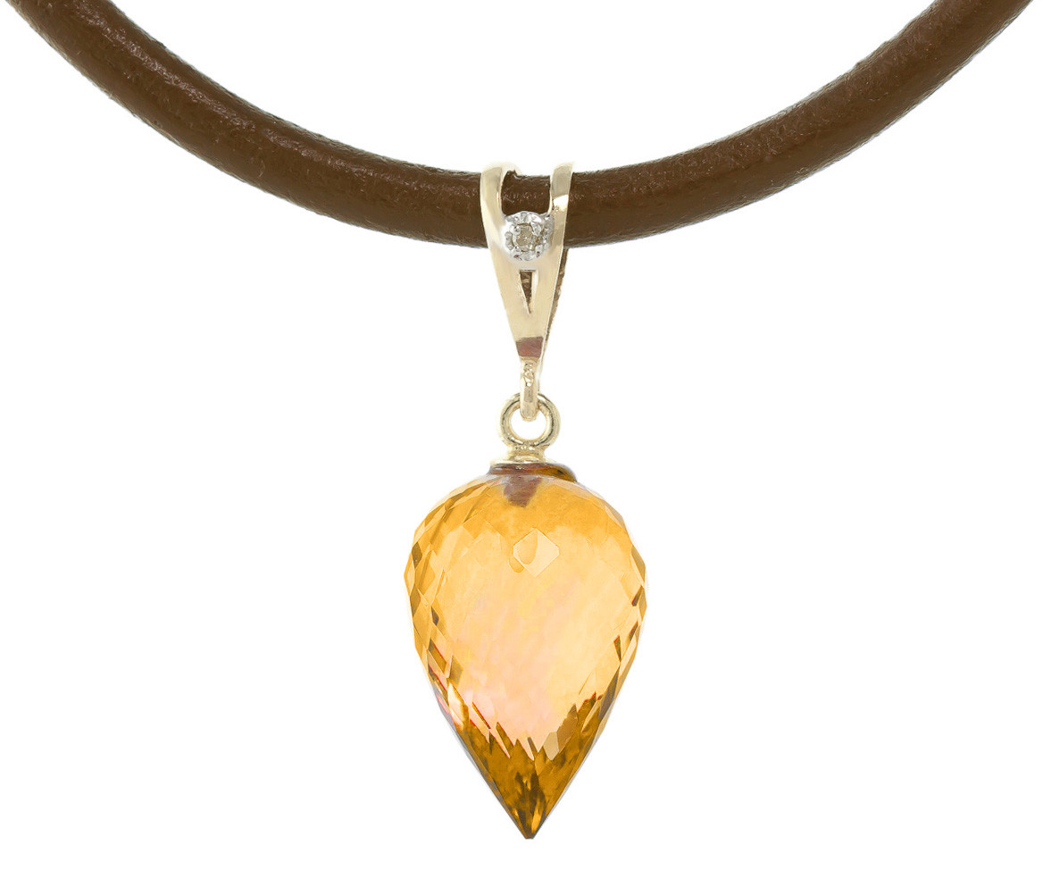 Citrine Leather Pendant Necklace 9.51 ctw in 9ct Gold