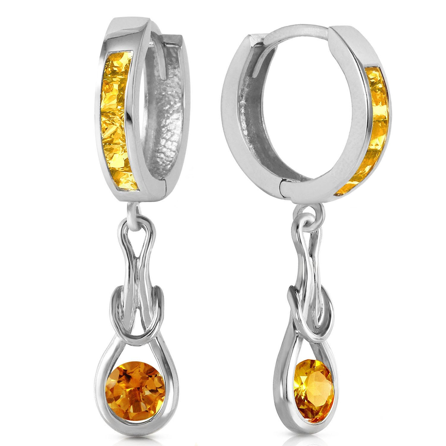 Citrine Loop Knot Huggie Earrings 0.7 ctw in 9ct White Gold