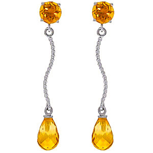 Citrine Lure Drop Earrings 4.3 ctw in 9ct White Gold