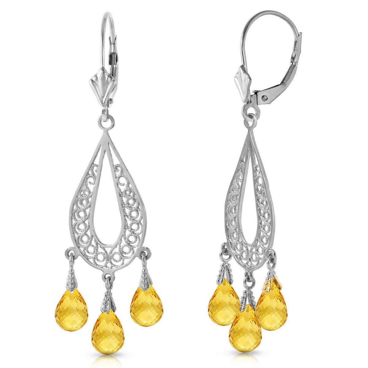 Citrine Mirage Drop Earrings 3.75 ctw in 9ct White Gold