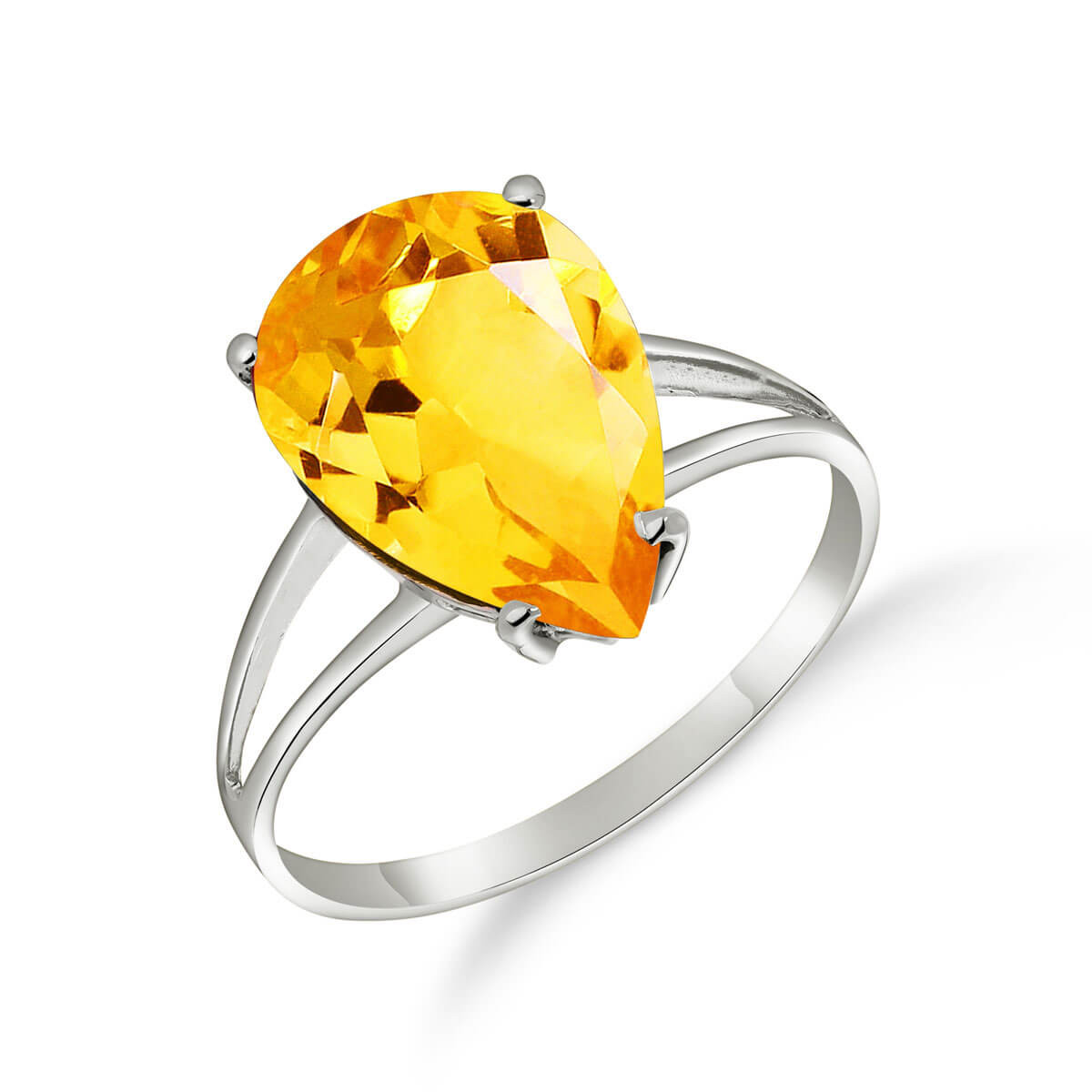 Citrine Pear Drop Ring 5 ct in 9ct White Gold