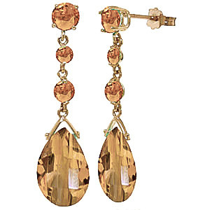 Citrine Pendulum Drop Earrings 13.2 ctw in 9ct Gold