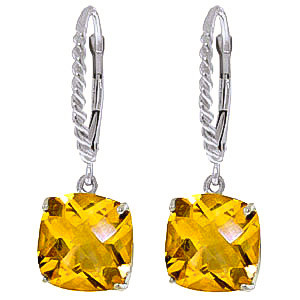 Citrine Rococo Twist Drop Earrings 7.2 ctw in 9ct White Gold