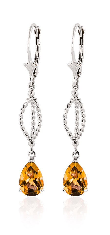 Citrine Sceptre Drop Earrings 3 ctw in 9ct White Gold