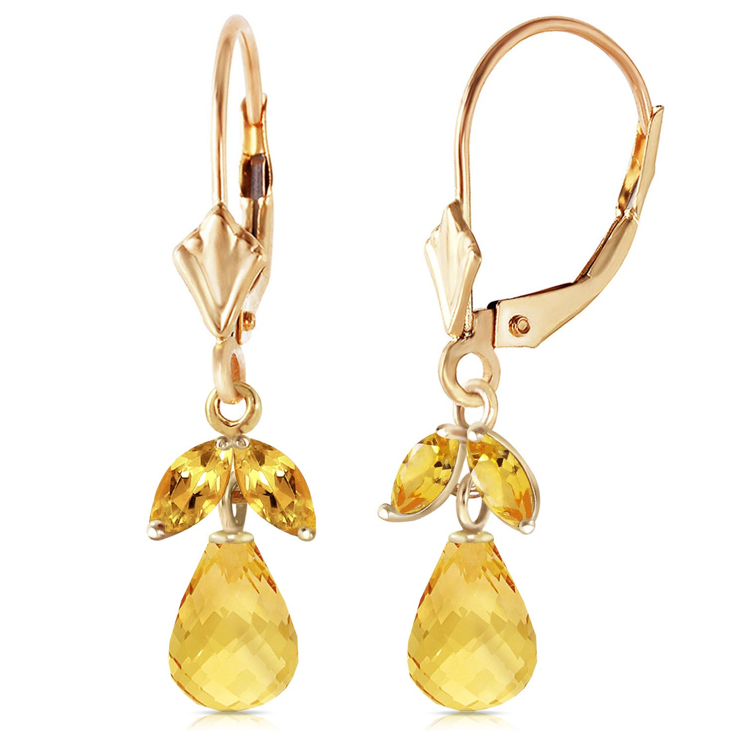 Citrine Snowdrop Earrings 3 4 Ctw In 9ct Gold