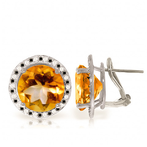 Citrine Stud French Clip Halo Earrings 12.4 ctw in 9ct White Gold