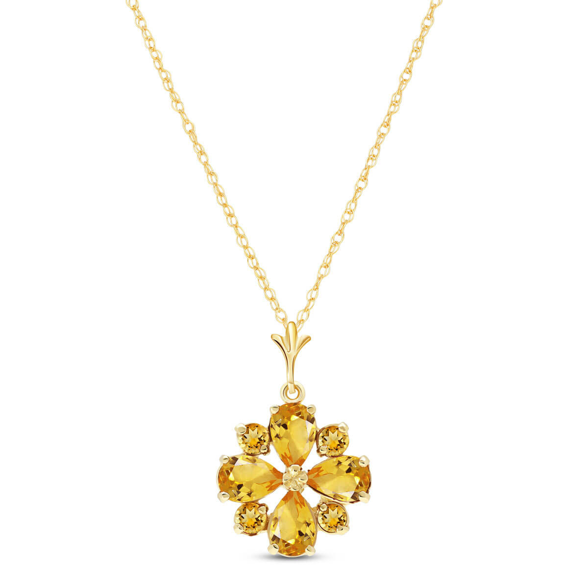 Citrine Sunflower Pendant Necklace 2.43 ctw in 9ct Gold