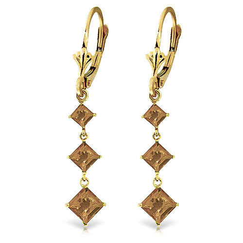 Citrine Three Stone Drop Earrings 4.79 ctw in 9ct Gold