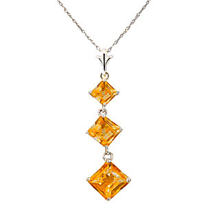 Citrine Three Stone Pendant Necklace 2.4 ctw in 9ct White Gold