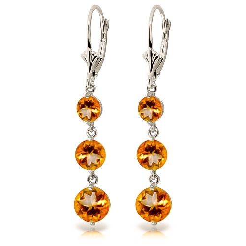 Citrine Trinity Drop Earrings 7.2 ctw in 9ct White Gold